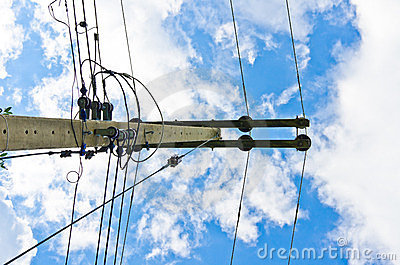 Electric line and blue sky