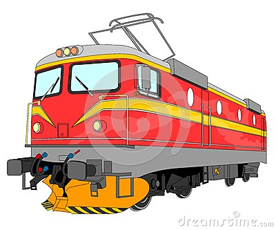 Electric locomotive illustration