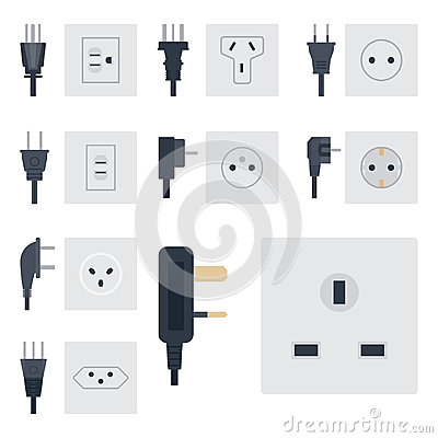 Free Electric Outlet Vector Illustration Energy Socket Electrical Outlets Plugs European Appliance Interior Icon. Stock Image - 94971641