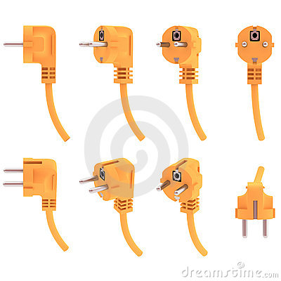 Electric plug from various angles, 3d render