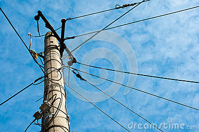 Electric pole with cables