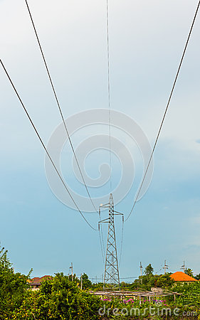 Electric power  on blue sky