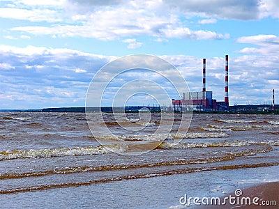 Electric power plant shoreline