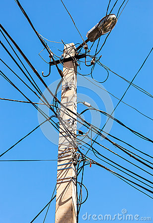 Free Electric Power Post With Wire Against Blue Sky Stock Image - 79097411