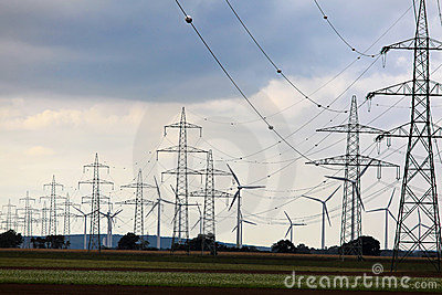 Electric pylons and wind farm