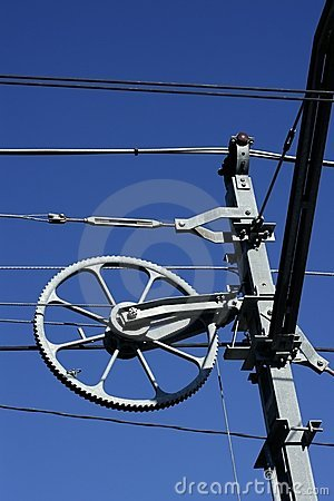 Electric railway steel over blue sky