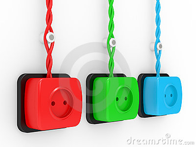 Electric sockets of different colour