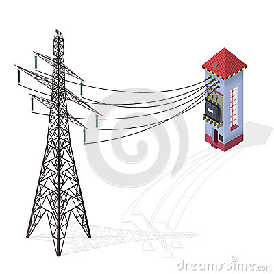 Free Electric Transformer Isometric Building Info Graphic. High-voltage Power Station With Electricity Pylon. Royalty Free Stock Images - 94413149