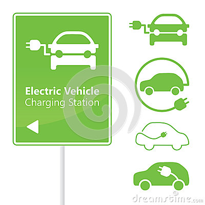 Free Electric Vehicle Charging Station Road Sign Royalty Free Stock Image - 28051386