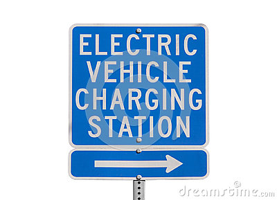 Electric Vehicle Charging Station Sign Isolated