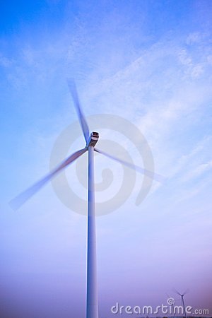 Electric wind generator or turbine spinning