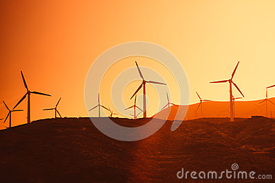 Electric wind turbines farm