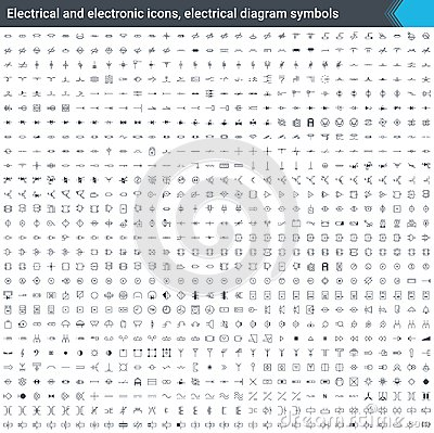 Free Electrical And Electronic Icons, Electrical Diagram Symbols. Circuit Diagram Elements. Stoke Vector Icons Isolated On White Backgr Royalty Free Stock Image - 119540956