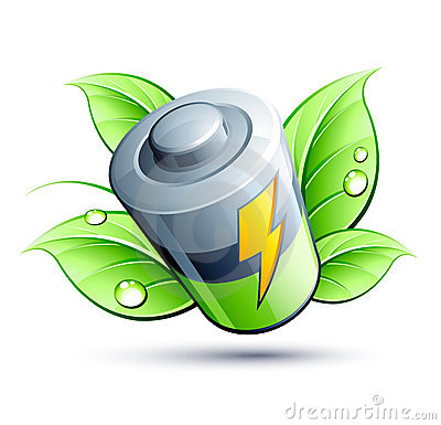 Electrical battery green leaf