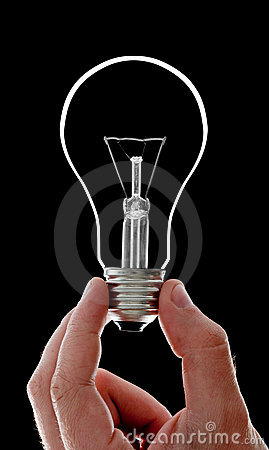 Electrical bulb in hand