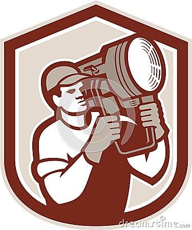 Electrical Lighting Technician Carry Spotlight Shield