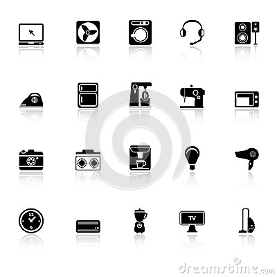 Electrical machine icons with reflect on white bac