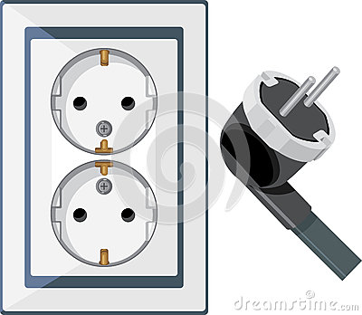 Electrical outlet and plug isolated on the white