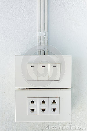 Electrical outlet on a wall