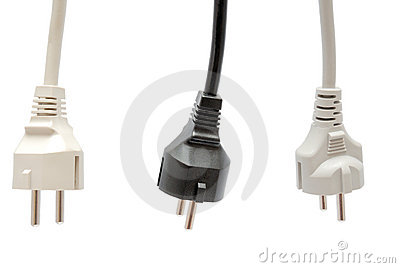 Electrical plug on white