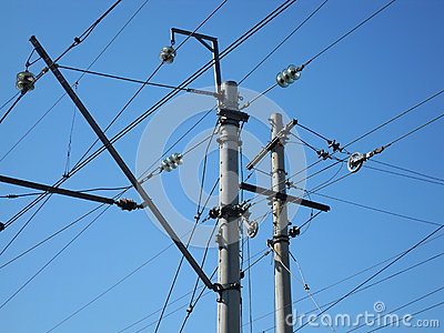 Electrical post with power line cables