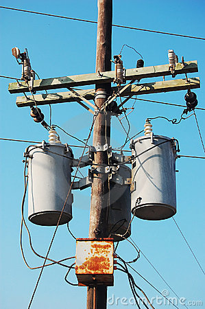 Electrical Post With Transformer Stock Image Image 4830021