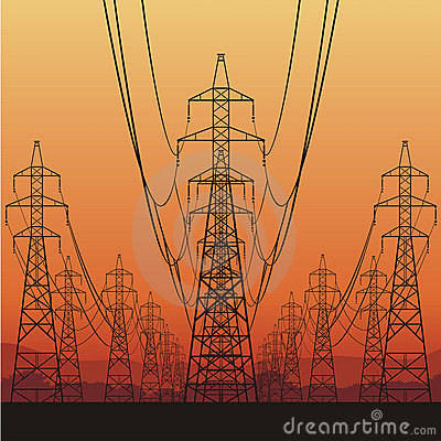 Free Electrical Power Lines Royalty Free Stock Images - 23013879
