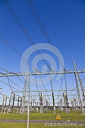 electric powerplant transformer station area. stock photo  image, wiring diagram