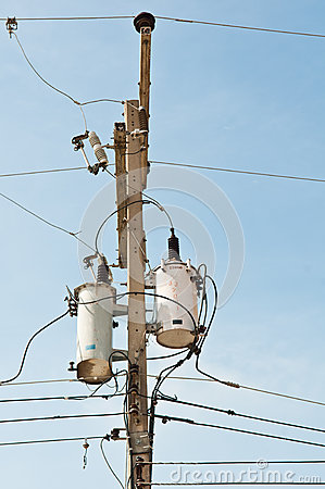 electrical power transformer on pole