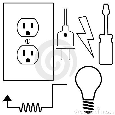 Free Electrical Repair Electrician Symbol Icons Set Stock Images - 12701804