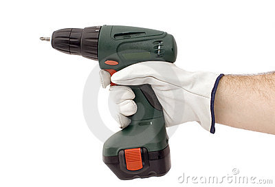 Electrical screwdriver tool in human hand