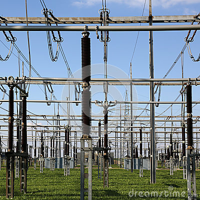 Electrical substation with transformers energy and electricity t