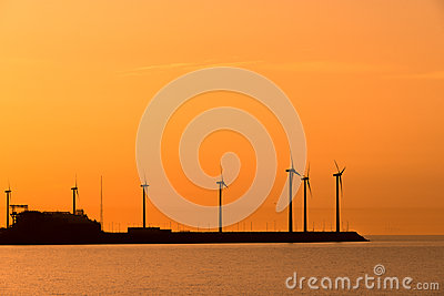 Electrical windmills silhouettes
