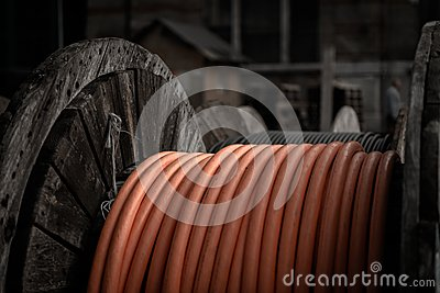 Electrical wires on wooden spool