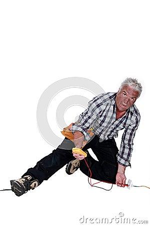 Electrician falling down