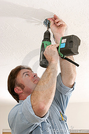 Free Electrician Installing Fan Box Royalty Free Stock Photo - 1074165