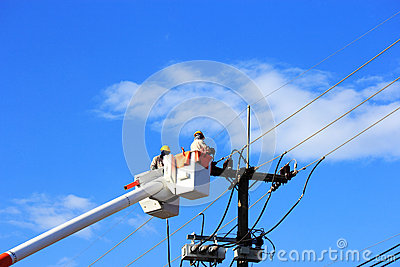 Electrician lineman repair of  electric power system