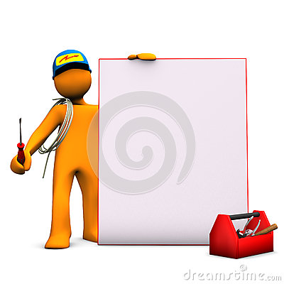 Free Electrician With Signboard Royalty Free Stock Photography - 27138967