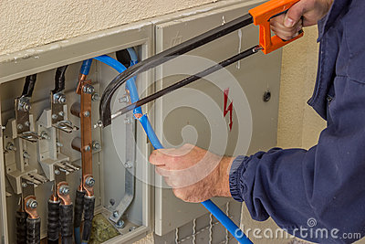 electrician working on electrical panel stock image image 9011341