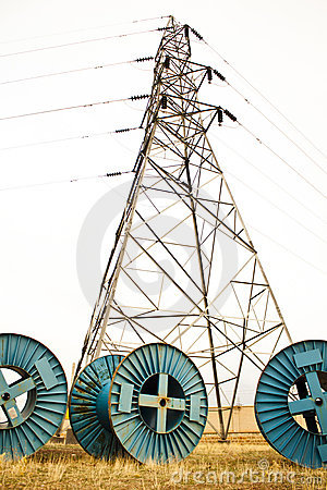 Electricity cable spool and tower