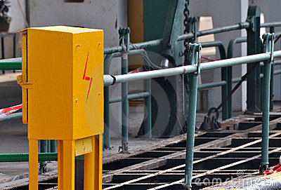 Electricity control box in shipping dock