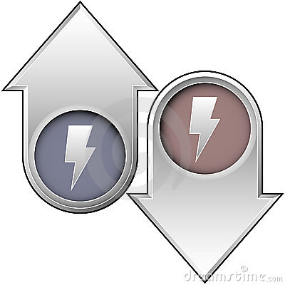 Electricity icon on up and down arrows