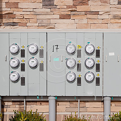 Free Electricity Meters On A Brick Wall. Stock Photo - 29405600