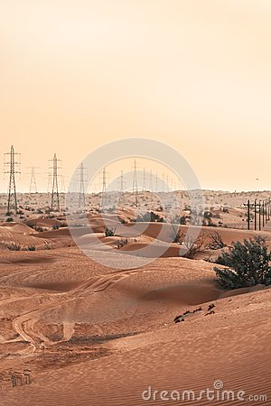 Electricity poles in the desert