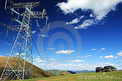 Electricity poles and vehicles