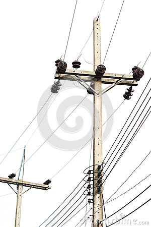 Electricity post  isolated on white