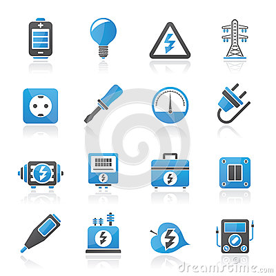 Electricity,power and energy icons