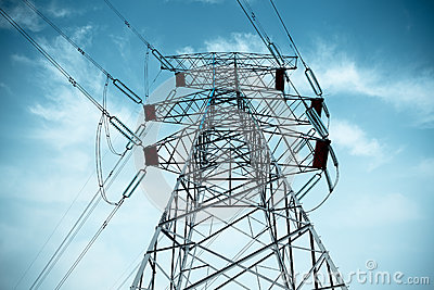 Electricity Pylon With Cable Royalty Free Stock Image - Image: 25154566