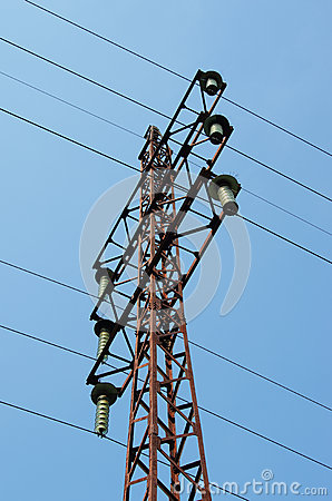 Electricity pylon with insulators and power lines