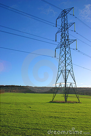 Electricity pylon in meadow